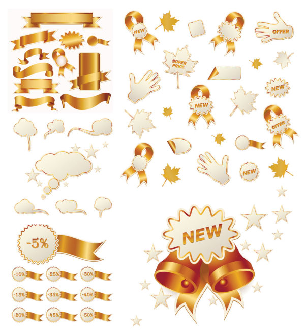 Gold ribbon and Christmas sales icon