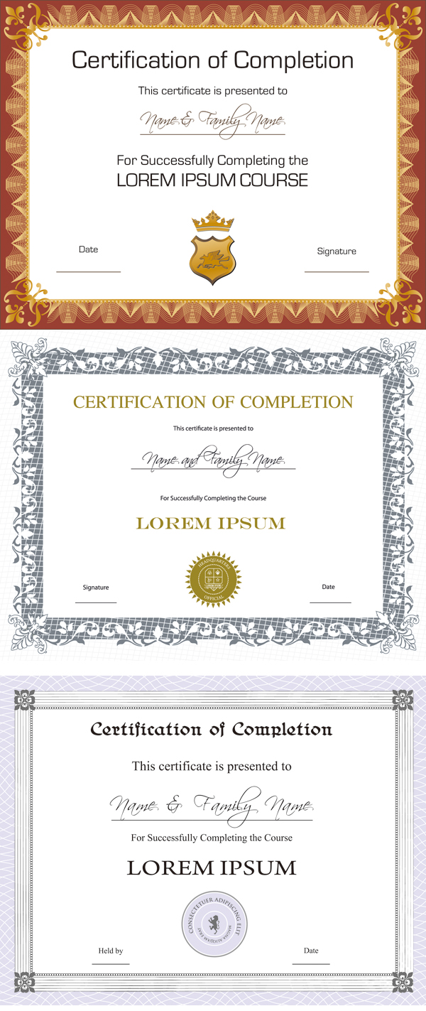 Vector three certificate design