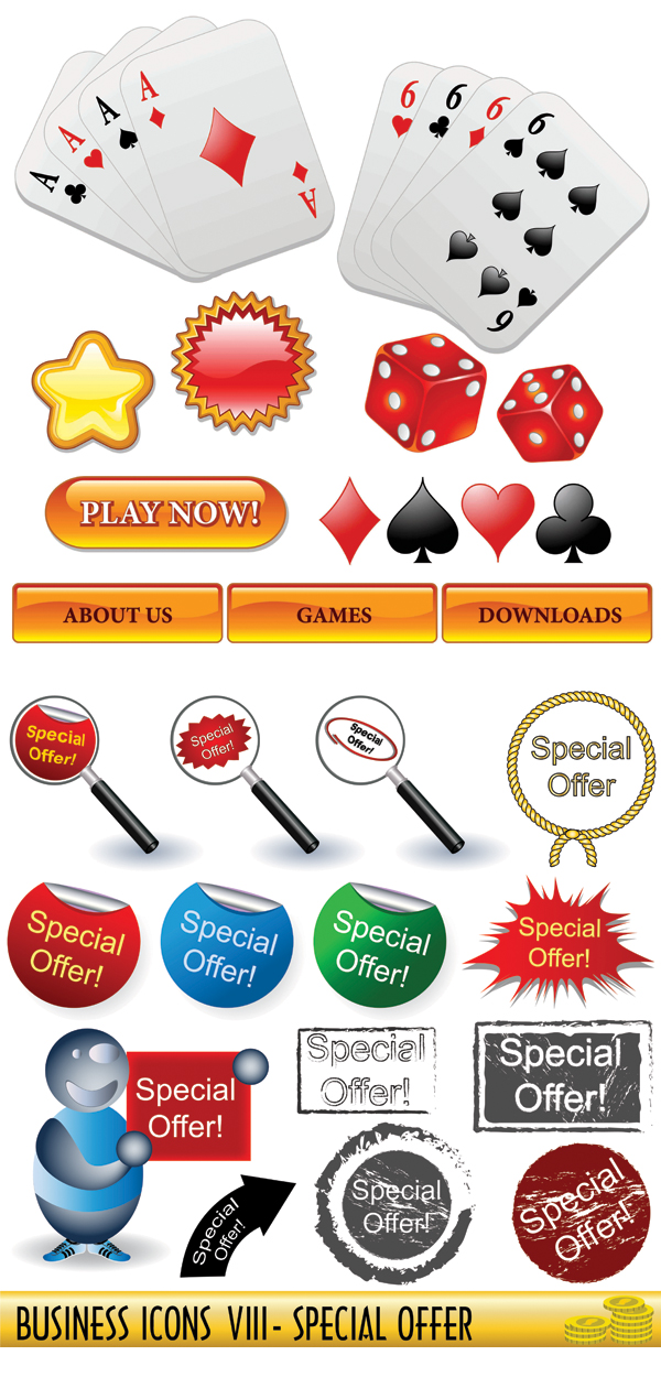 Poker, dice, magnifying glass vector
