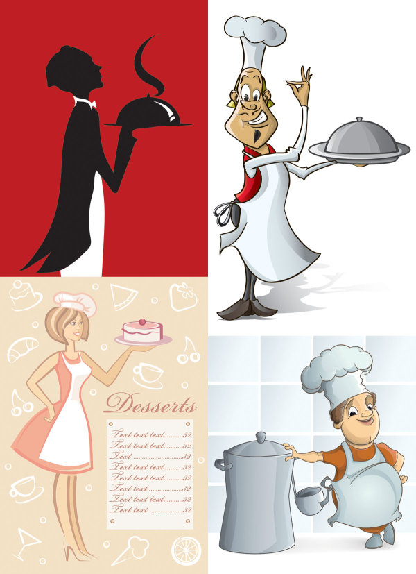 Cartoon waiter image - Vector