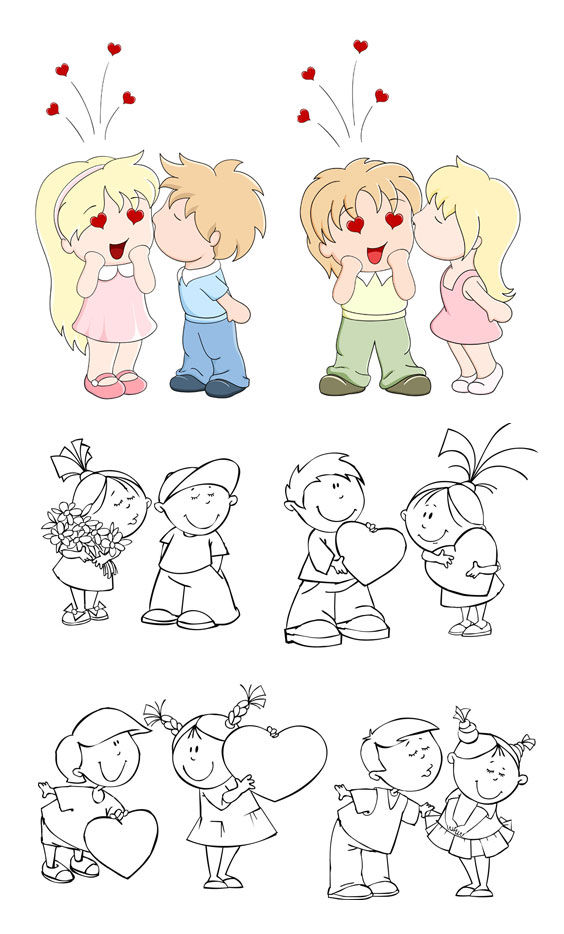 Lovely children vector material