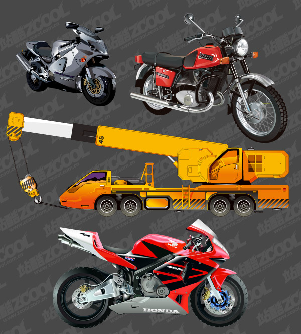 Motorcycle and Crane Vector