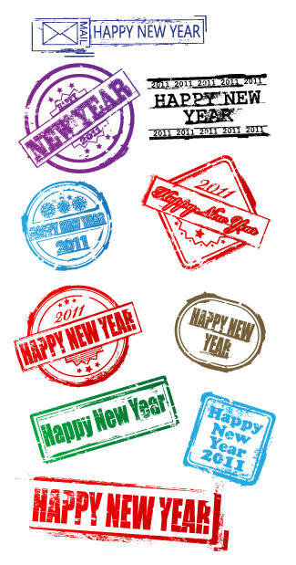 New Year's postmark Vector