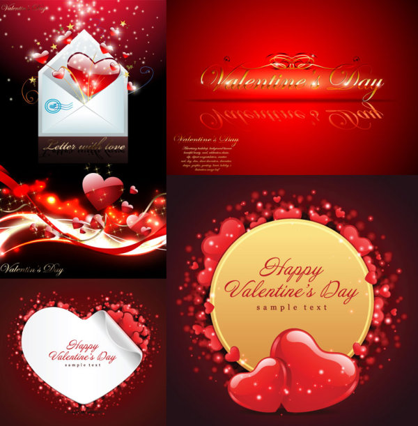 Valentine's Day cards vector material