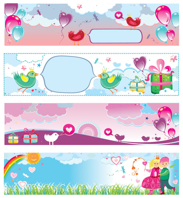 Cute Valentine's Day Banner vector material