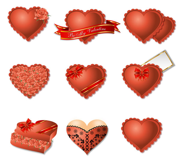 Romantic heart-shaped gift box packaging vector material