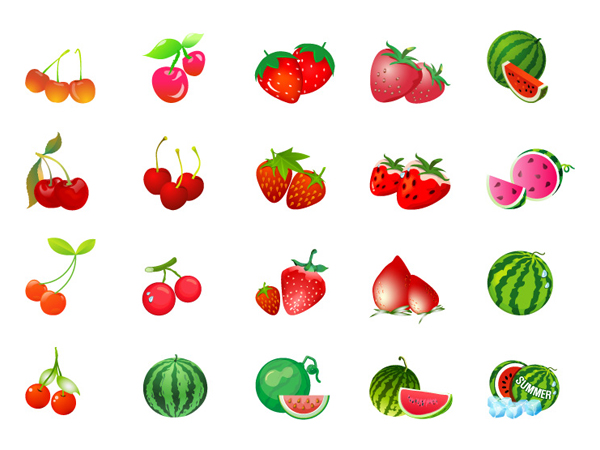 Cherry strawberry watermelon vector material