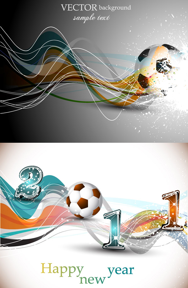 Football and dynamic lines vector material