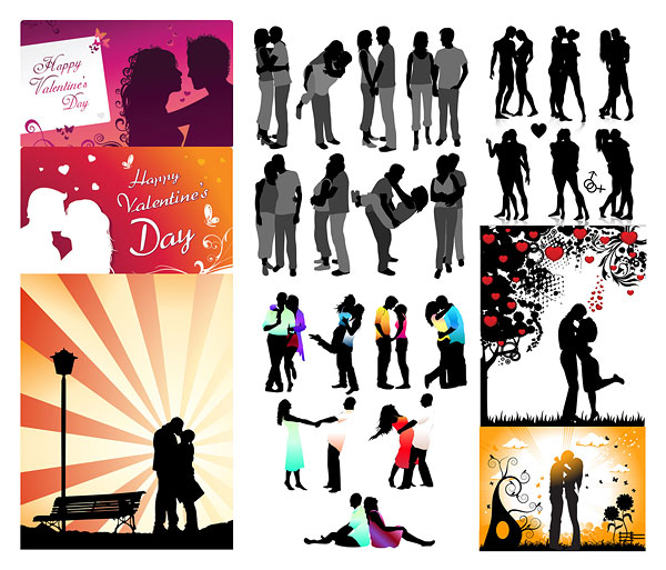 Romantic lovers silhouette vector material