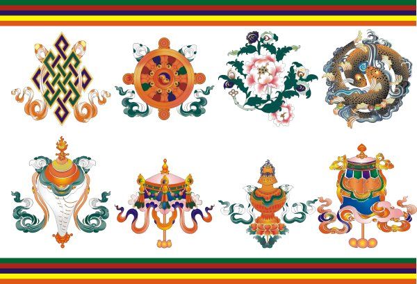 The auspicious Eight of Tibet - vector material