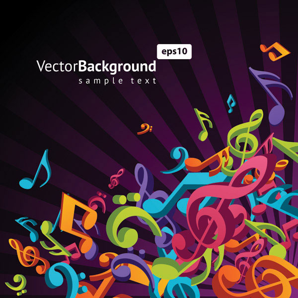 Note musical theme vector material -3