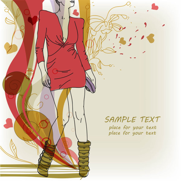 Fashion hand-painted beautiful illustrations 05 - vector