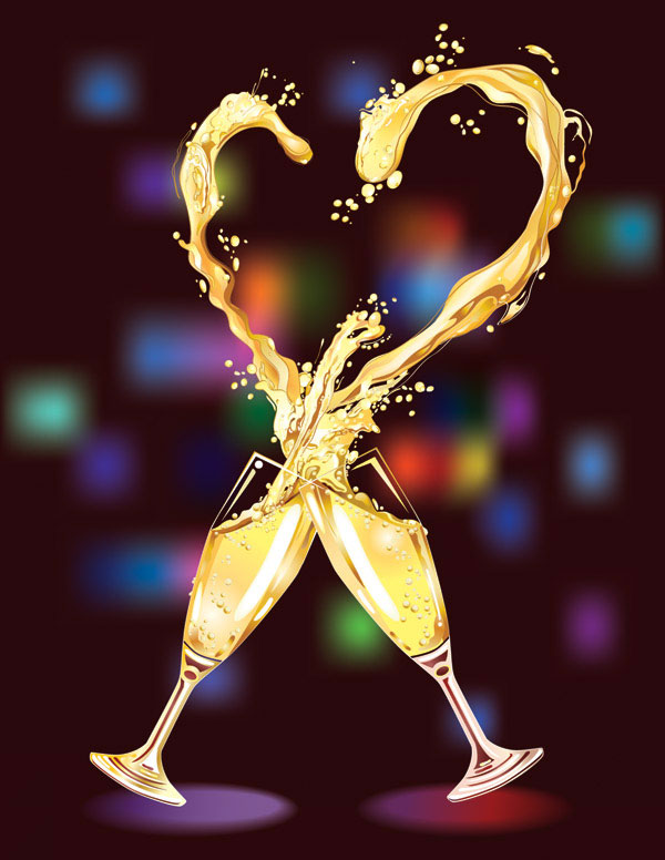 Heart-shaped champagne vector -3