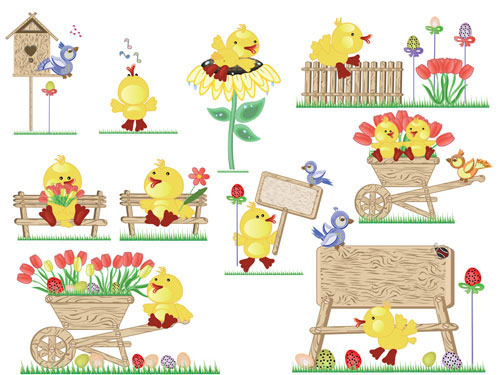 Cute Easter egg chicks vector material