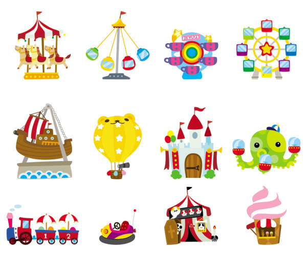 Cute cartoon icon playground 03-- vector material