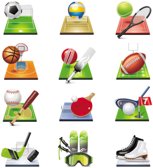 Sports-related icons 04 - vector