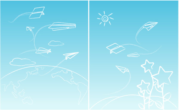 Line paper airplane graffiti vector material