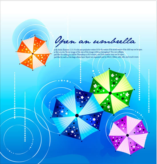 Fashion printed umbrellas design background vector material -2