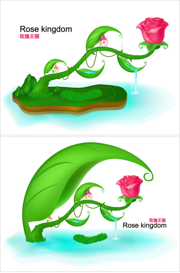 Rose fairy-tale world vector material