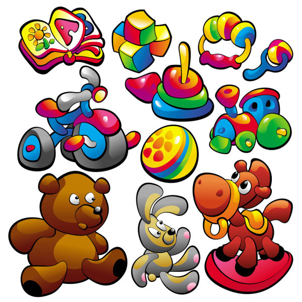 Cartoon baby food toys 03 - vector