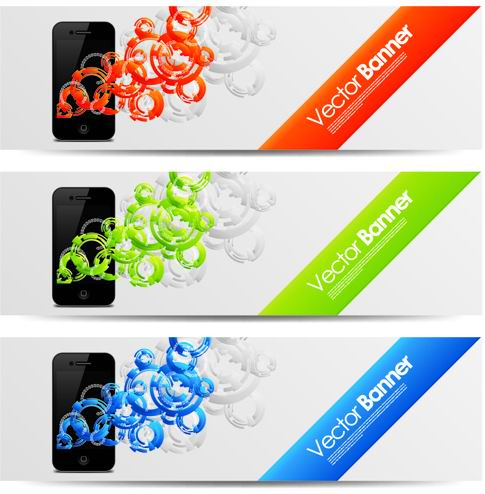 Trend pattern cell phone banner design vector -1