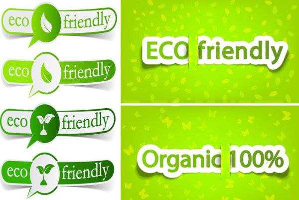 Low-carbon green theme label banner design vector material -2