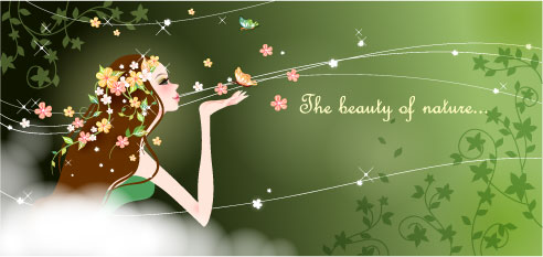 Cartoon beauty background 04 - vector