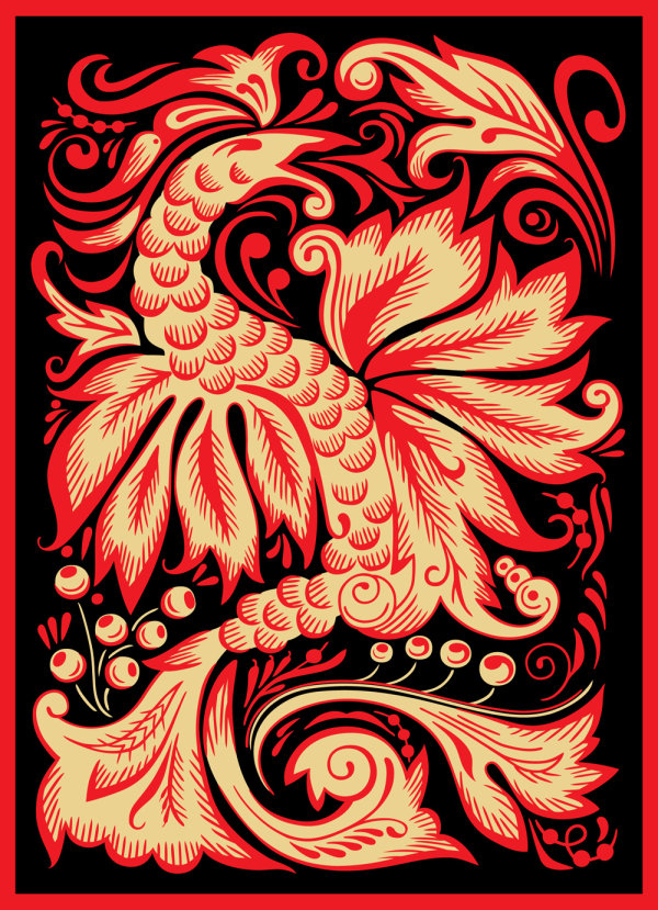 The Phoenix paper cutting pattern - Vector