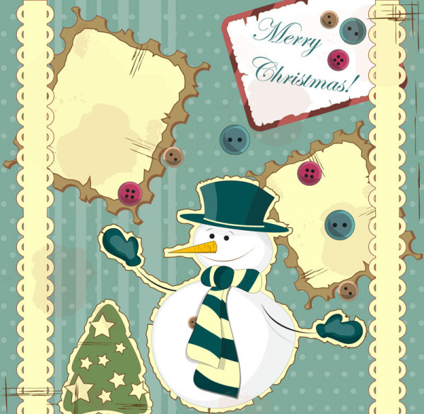 Snowman decorative painting 02 - vector material