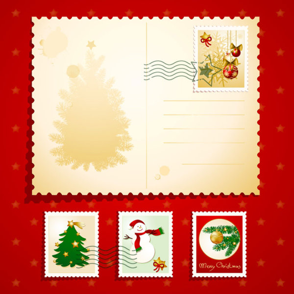 Christmas elements Stamps 02 - vector material