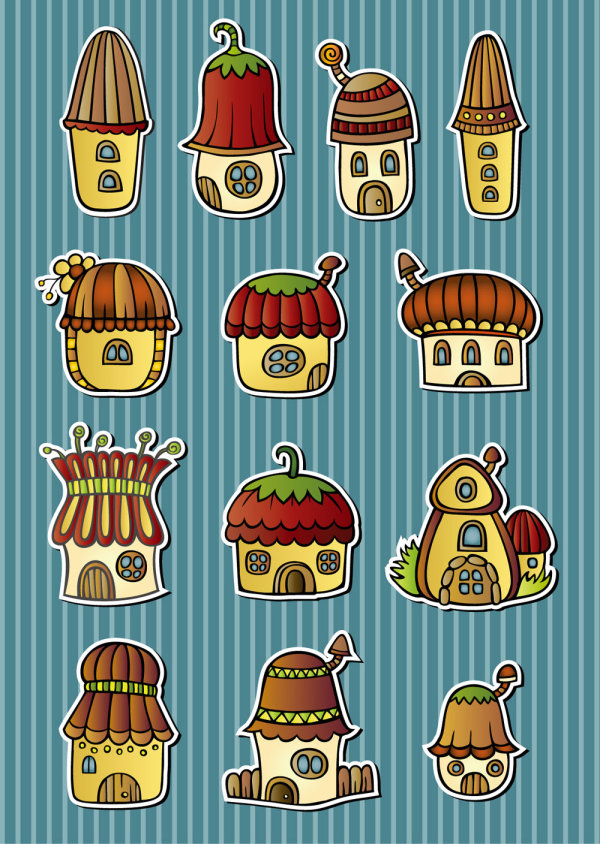 Cartoon mushroom house 01 - vector material