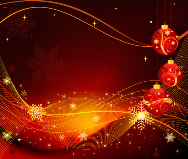 Beautiful Christmas ball background 02 - vector material