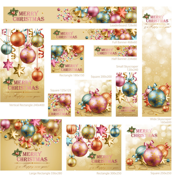 Beautiful Christmas decoration elements 02 - vector material