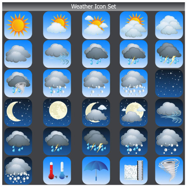 Cartoon weather icon 03 - vector