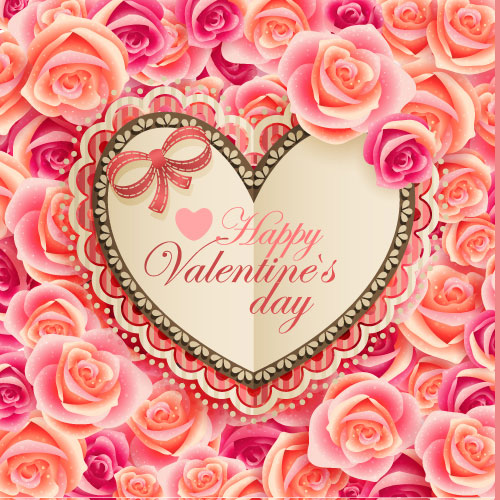 Old-fashioned Valentine's Day card 02 - Vector material