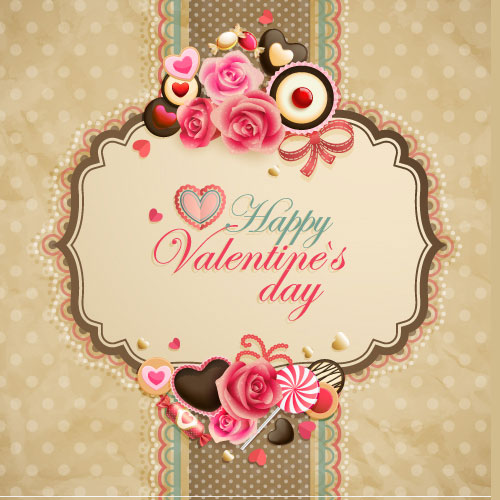 Old-fashioned valentine cards Vector -05
