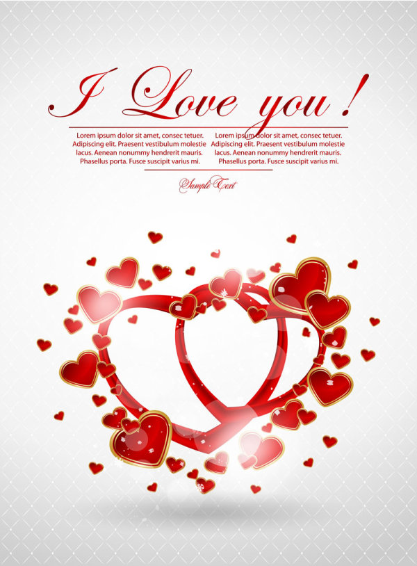 Valentine's Day greeting card 04 - vector material