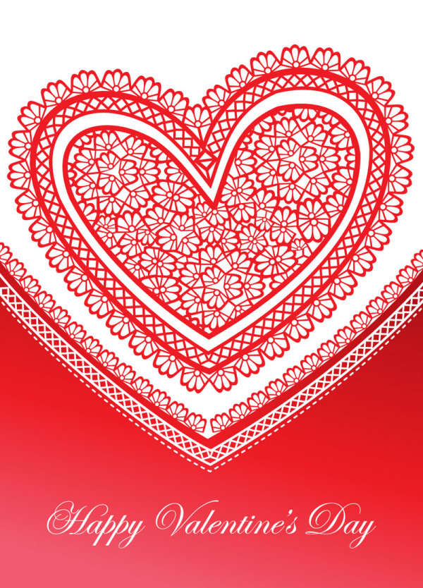 Beautiful Valentine card 04 - vector material