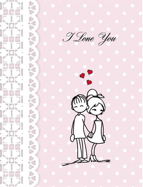 Line is issued on Valentine's Day illustrations 04 - vector material