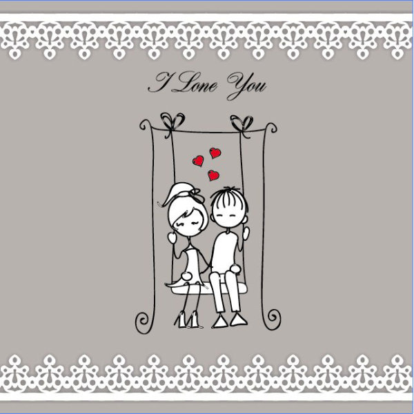 Line art illustration Valentine 05 - vector material