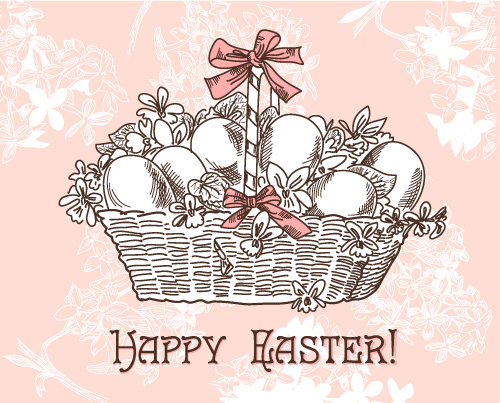 Hand-painted Easter pattern 02 - vector