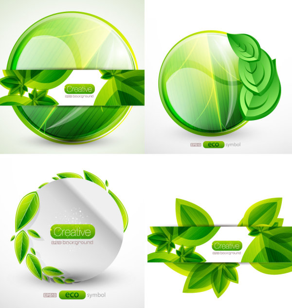The green leafy tags vector material