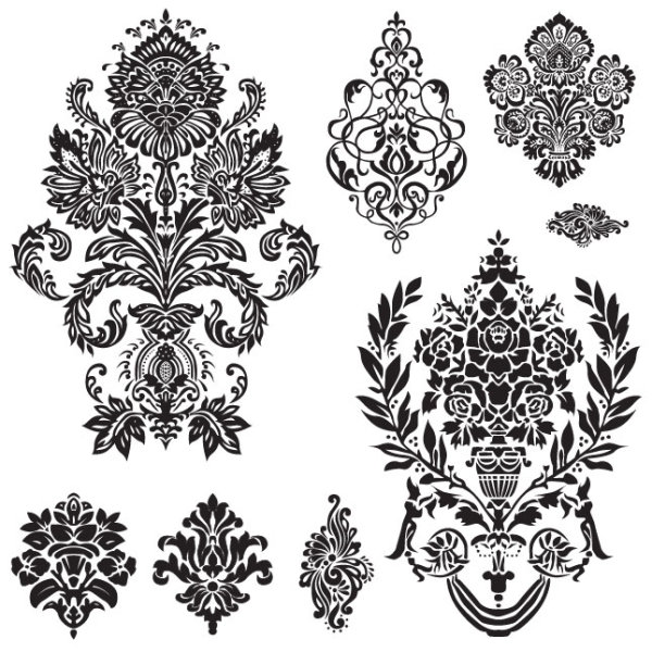 Black and white patterns 01 - vector material