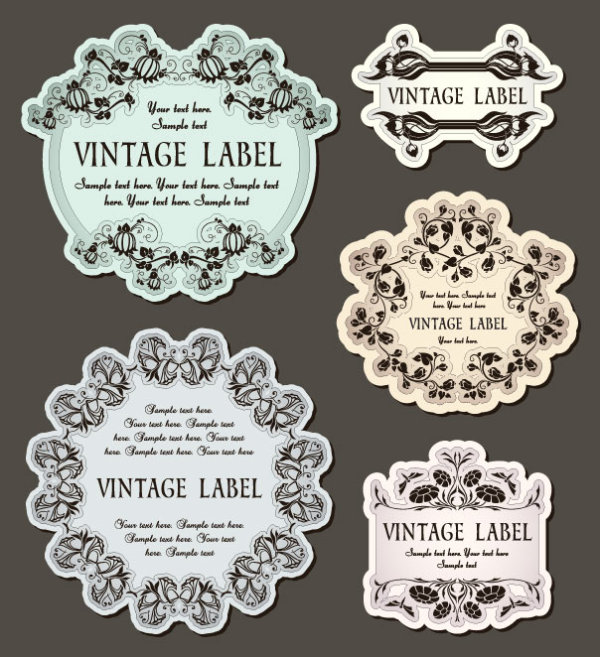 The classic pattern stickers 02 - vector material
