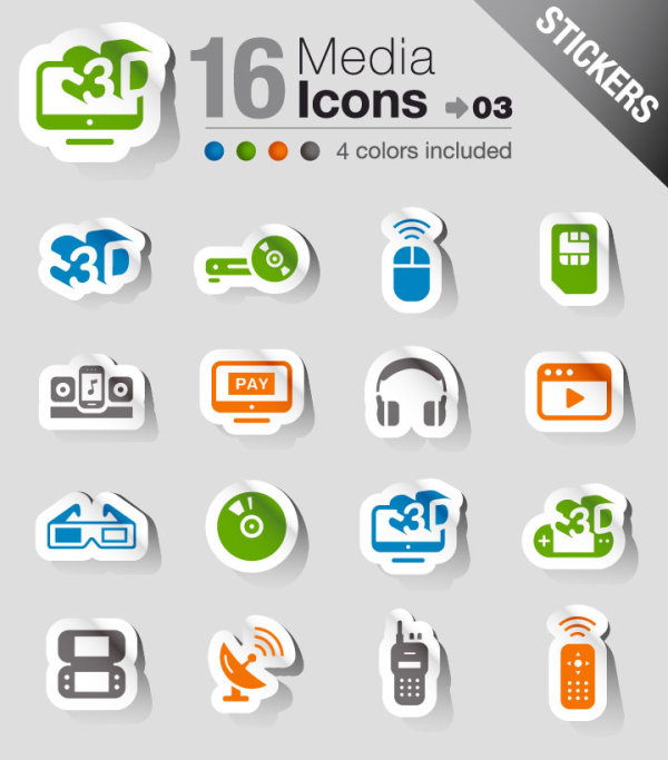Delicate electronic products stickers 03 - vector