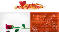 Maple Leaf rose heart-shaped wall material vector