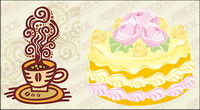Coffee and cake vector material