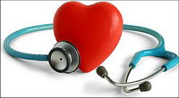 Stethoscope and heart-shaped picture material