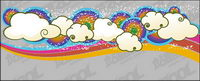 Lovely rainbow clouds trend vector background material