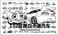 black-and-white classic cartoon motor vehicles vector design material